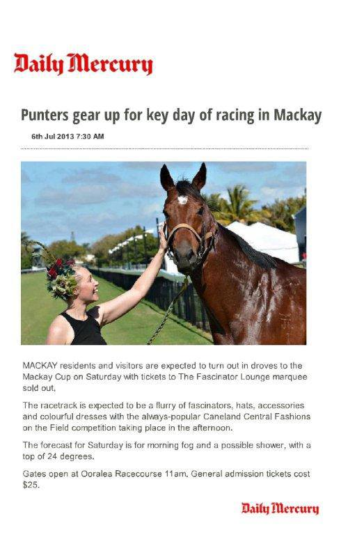 Ashlee English Mackay Turf Club with race horse Savannah Gold Mackay Cup July 2013 The Daily Mercury