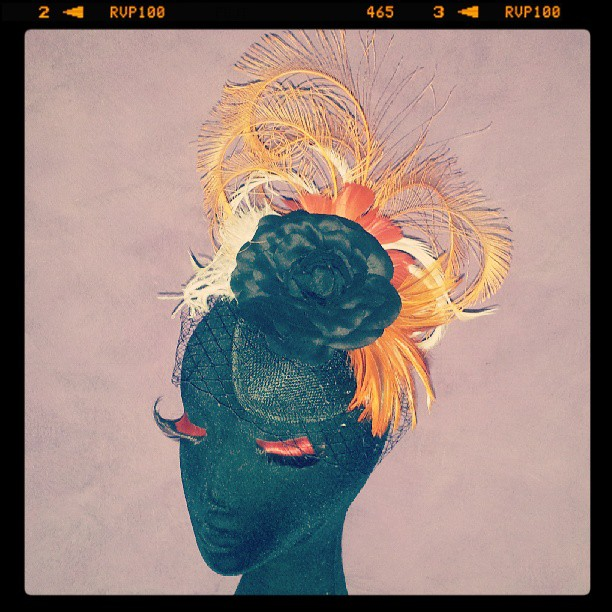 Sunset on on Flamenco Beach Divalicious Birdcage Petite Fascinator